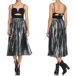 Free People Piper Pleated Midi Black Silver Dress